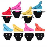 Bambini Costumi da bagno bambino Falbala Costume bambina Oblique bikini spalla Crop Tops Bottoni Mutandine Beach Holiday nuotata copertura del pannolino del Slip B5699