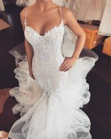 2019 Arabic Beaded Lace Wedding Dresses Spaghetti Mermaid Tu...