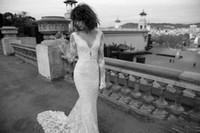 Liz Martinez 2020 Neue Spitzenland Langarm Mermaid Brautkleider Benutzerdefinierte Make V-Ausschnitt Ganzkörperansicht Günstige Fischschwanz-Brautkleid WD036