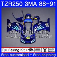 바디 용 YAMAHA TZR250RR RS RR YPVS TZR250 88 89 90 91 244HM.6 TZR-250 TZR250 3MA TZR 250 1988 1989 1990 1991 Fairing Blue Go !!! 재고 킷