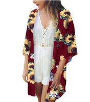 Kimono Cardigan Women Long Summer Sunflower Floral Print Kim...