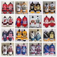 CCM Vintage 68 Jaromir Jagr maglie di Pittsburgh Penguins Hockey su ghiaccio Jaromir Jagr Jersey Bianco Rosso cucito Retro Nero Blu Giallo
