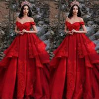 Plus Size mais novo Red Prom vestidos de festa 2019 Alças apliques de lantejoulas Layered Ruffles Formal Pageant noite Vestidos Vestidos