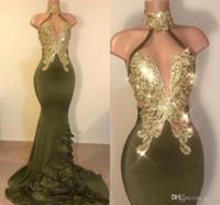 Oilve 녹색 매력적인 섹시한 인어 댄스 파티 드레스 높은 보석 목 금 새해 스윕 기차 정장 드레스 저녁 마모 파티 드레스의 ogstuff