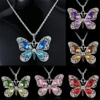 Schmetterlingspullover Kette Halskette Kristall Strass Halskette Für Mädchen Mode Frauen Halsketten Schmuck Tier Anhänger Charm Halskette 6farben