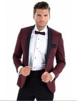 Burgonya Düğün Resmi elbise Blazer (Ceket + Pantolon) Erkekler İş Casual Slim Suit Moda TuxedoStage Performanslar Suit