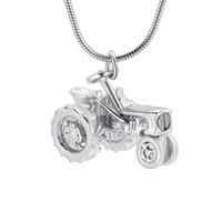 IJD10536 Tracteur Forme En Acier Inoxydable Souvenir Souvenir Urne Collier Pour La Cendre Pour Hommes Crémation Bijoux Pendentif