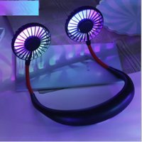 New Portable III version USB Rechargeable Neck Hanging Dual Cooling Mini Fan With Colorful Light sport 360 degree rotating hanging neck fan