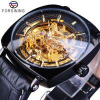 Forsining Hommes d'or de vitesse noir Mouvement unique cadran carré Hommes mécanique Skeleton Montres Top Marque Luxe Homme Horloge