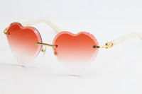 Selling Rimless Marble White Plank UV400 Heart Lens Sunglasses Adumbral 3524012 Gradient Lenses Transparent Frames With Clear Sun Glass Gesg