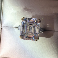 Vecalon Engagement Promise Ring 925 sterling silver Asscher ...