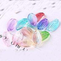 18 * 9mm blomma kronblad lämnar glasyr DIY Hårpinlampor Hårtillbehör Smycken Gradient Lotus Leaf GSLLZ019 Handgjorda