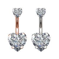 1PC Çelik Göbek Düğme Yüzük Kristal Piercing Navel Kalp Stil Piercing Navel Küpe Göbek Piercing Seksi Vücut Takı Piercing