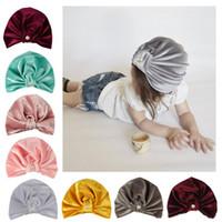 bambini cappelli firmati toddle Infant velluto oro perla annodando delle fasce hat neonata di accessori per capelli dei bambini delle ragazze dei cap Bandane