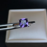 Meibapj Natural Amethyst Gemstone Square Simple Ring For Wom...