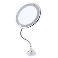 360 ° 회전 유연한 구즈넥 10 배 확대 LED 조명 욕실 메이크업 면도 거울 조정 가능한 구즈넥