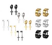 Atacado-Fashion Designer cruz de aço de titânio Punk Stud Homens brincos Luxo Cirle ouvido masculinos simples fivela brincos maré de aço inoxidável