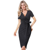 Vfemage Donna Stampa a righe Elegante scollo a V sexy con cintura Slim lavoro Ufficio Business Party aderente matita guaina Wrap Dress 2860