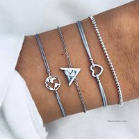 4 Pcs set Bohemian Charm Gem Triangle Chain Map Heart Beaded...