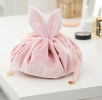 كسول حقيبة مستحضرات التجميل المخملية الأرنب ماكياج حقائب الرباط غسل الحقيبة المرأة سلسلة الأرنب المحافظ ماكياج حقائب المنظم التخزين GGA3201-3
