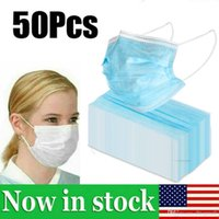 US STOCK !!! 50pcs descartáveis ​​3-Layer espessamento Nãotecidos Máscara Facial Anti nevoeiro e neblina Dustproof Health Care Earloops máscara máscaras Boca