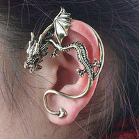 Orejas Cuffing Retro Vintage Silver Bronce Punk Tentación Dragon Bite Ear Cuff Clip Clip Wrap Earring Cip On Earrings