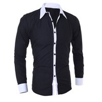LNCDIS Été NOUVELLE personnalité de la mode hommes Casual Slim à manches longues col montant chemise Top Blouse en gros Freeship N4