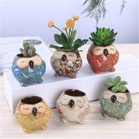 새로운 귀여운 정원 냄비 통기성 동물 올빼미 도자기 화분 안티 부식 방지 미니 파종기 휴대용 간단한 내구성 4 8xs