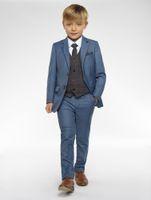 2019 stilvolle nach Maß junge Smoking Revers zwei Knöpfe Kinder Kleidung für Hochzeit Kinder Anzug Junge Set (Jacke + Pants + Weste)