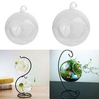2PCS شنقا الكرة زجاج الشاي ضوء شمعة حامل الزهرية زهرية ديكور المنزل