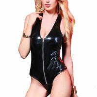 Mujeres sexy traje de cuero de imitación negro brillante sin mangas de látex traje de cremallera tubo de baile bodycon body de mujer mamelucos ropa de disfraces
