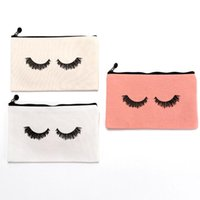 Canvas Eye Lashes Printed Pencil Case Simple Women Girl Penc...