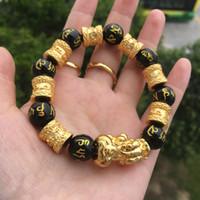 WN001 Nuevos hombres de seis palabras mantra perla pulsera del encanto del brazalete de la aleación del grano suerte piyao pulsera hecha a mano con cuentas hombres y mujeres joyería ajustable