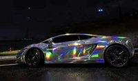 銀虹色ホログラフィック万華鏡ビニールフィルムクロムレーザー車のラップホイルステッカーフリーエアリース
