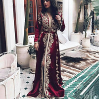 2020 Muslim Long Sleeve Evening Dresses burgundy Appliques A Line Dubai Arabic Style Formal Occasion Prom Party Dresses