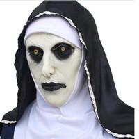 The Nun Valak Mask Deluxe Latex Scary Full Head Halloween Cosplay Kostymtillbehör Halloween Party Scary Horror Masks 2 Style DHL