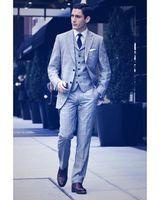 Yeni Yakışıklı Ekose Erkekler Düğün Slim Fit Damat 3 Adet (Ceket + Pantolon + Yelek) Custom Made