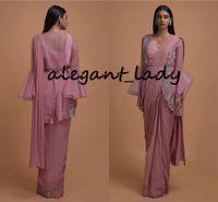 Thulian Różowy gotowy plisowany saree zwieńczona kurtką z organzy o dzwonkach z dzwonkami 2020 Bling Bling Indyjskie wieczorowe sukienki
