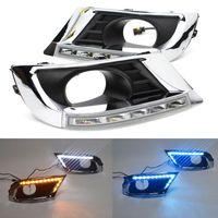 2PC를 들어 도요타 캠리 2009-2011 DRL 안개 램프 자동차 LED 흰색 노란색 방향 지시등 방수 LED 낮 실행 빛 안개 램프 전구