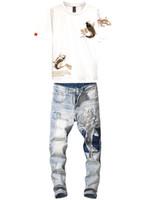 Marke Bekleidung Herren 2ST Jeans Sets Fashion Bestickte Brocade Carp Anzug Male Black and White 2 Farben T-Shirt + Retro Stretch Jeans