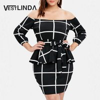 VESTLINDA Plus Size Due pezzi Donna Set Slash Neck a maniche lunghe Plaid Top e gonna Set 2019 Womens 2 pezzi Out Off The Shou