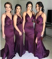 2019 uva roxa Spaghetti Mermiad vestido da dama baratos Open Back Bainha Formal Prom Vestido Plus Size do convidado do casamento Vestido BM0939