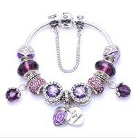 فاخر مصمم المجوهرات النسائية سحر صالح سوار أساور باندورا للنساء الكريستال قلب الحب أساور الخرز الأزرق الأرجواني الوردي مجوهرات ديي
