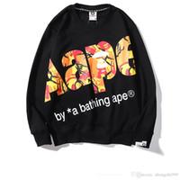 AAPE para hombre con capucha de lujo alta calidad del diseñador de moda con capucha naranja impresión de la letra la camiseta ocasional pares Joker Locomotora Marca suéter