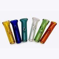 Punta plana del filtro de la boca y puntas redondas con rancho de tubo de paja de vidrio transparente BONG DAB RIG