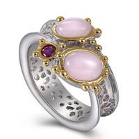 Dernières bague de mode pierres d'opale rose ovale bijoux de luxe argent + or 2 ton plaqué jolies bagues pour les femmes