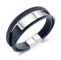 n1392 Braid cinturino in pelle a più strati, con fibbia in acciaio magnetico bangle