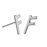 ESS2019062141 Trendy Paslanmaz Çelik Harf F Küpe Geometrik Şekli Çift Takı için 26 İngiliz Alfabe Çelik Renk saplama Küpe