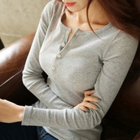 NORMOV Women Blouse Shirt 2020 Casual Long Sleeve Solid Knitted Shirts Lady Slim Bottoming Tops Female Button Pullover Blouse