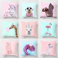 Taie Imprimé animal Cartoon coussins Coussin décoratif chien Flamingo Unicorn girafe Elephant Home Deco